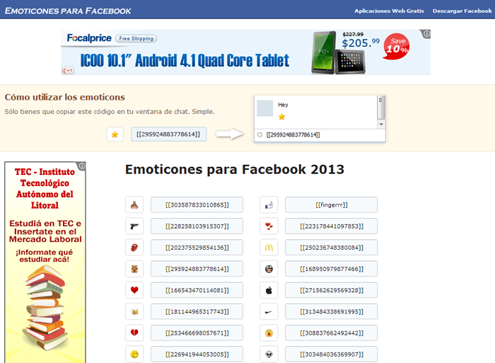 App Emoticones Facebook