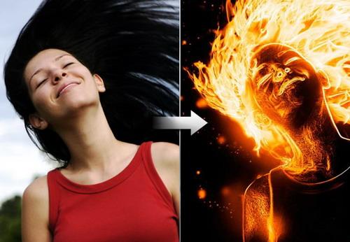 Efecto fuego en fotografía