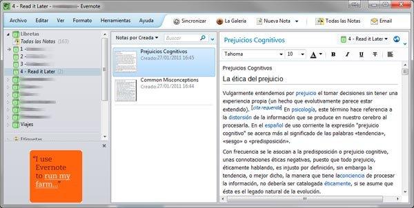 Usar Evernote en internet