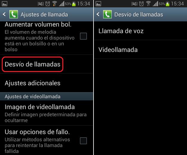 Desviar llamadas en Android 2