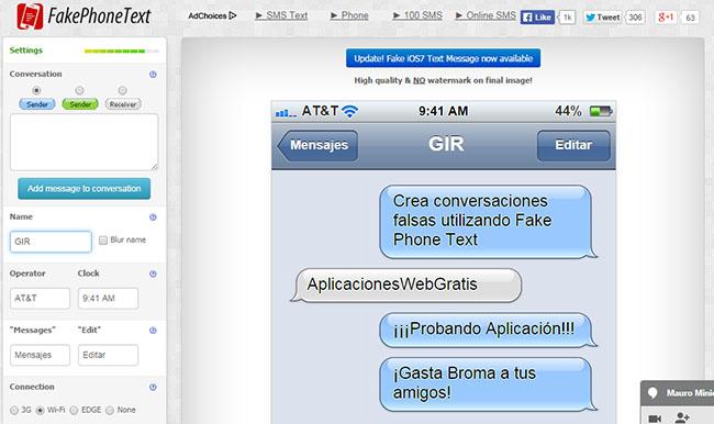 FakePhoneText - Crear conversaciones falsas