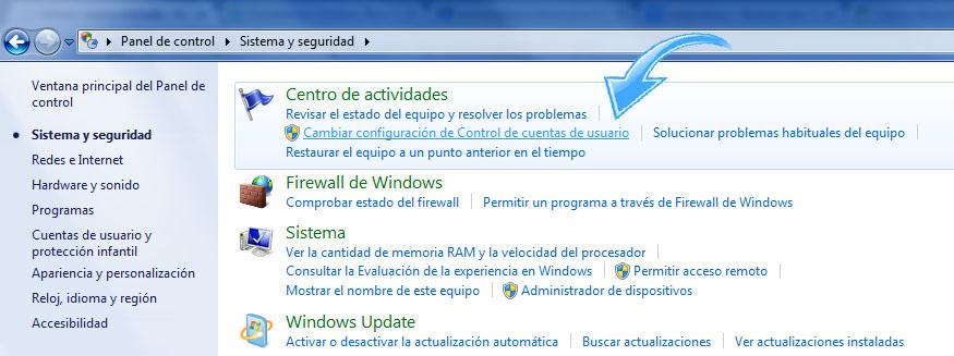 Paso 3  para Desactivar UAC en Windows 7