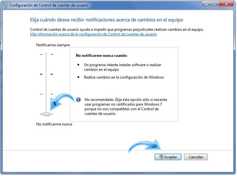 Paso 4  para Desactivar UAC en Windows 7