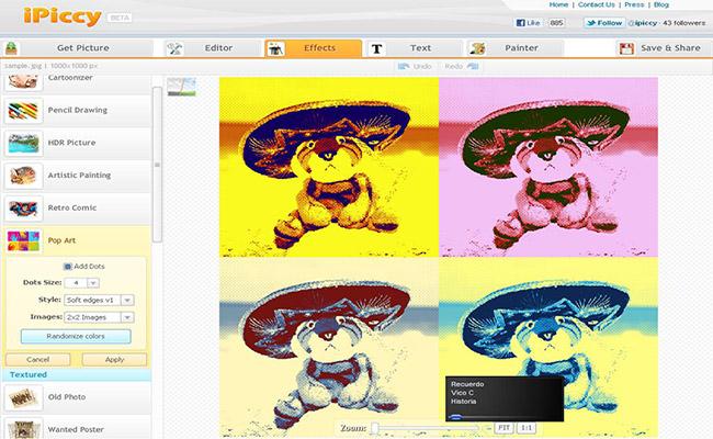 Editar fotos online con iPiccy