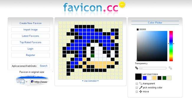 Favicon.cc Herramienta web para Crear favicon con fondo transparente online