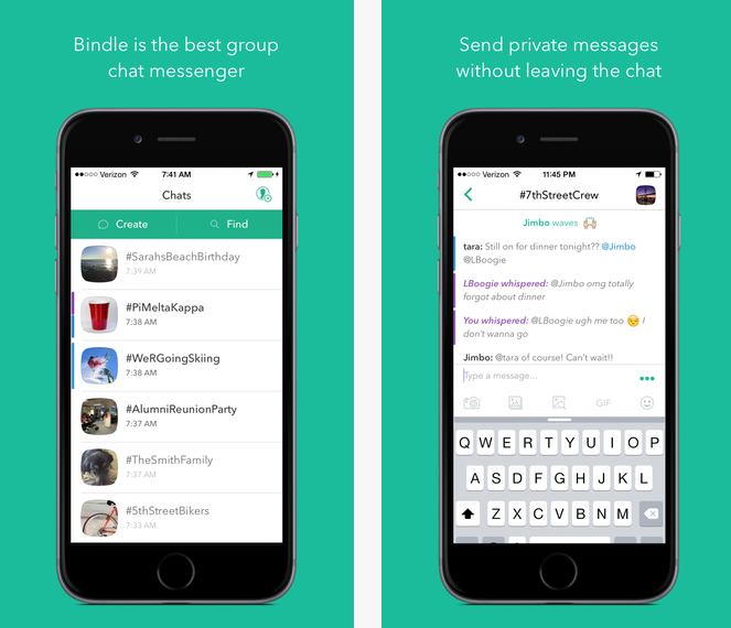 Bindle, aplicación para grupos de chat