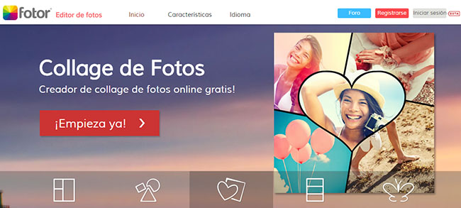 Fotor - Aplicación Online para hacer Collage de Fotos